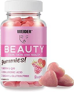 Weider Beauty Gummies. Gominolas para el cuidado de la piel, pelo y uñas. Sin Azúcares y Sin Gluten. 40 gummies. Sabor fra...