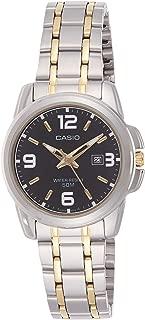 Women's LTP1314SG-1AV Silver Stainless-Steel Quartz Watch with Black Dial