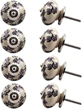 Indian-Shelf Handmade Ceramic Tiny Floral Wardrobe Knobs Door Pulls Cupboard Handles(Purple, 1.5 Inches)-Pack of 8