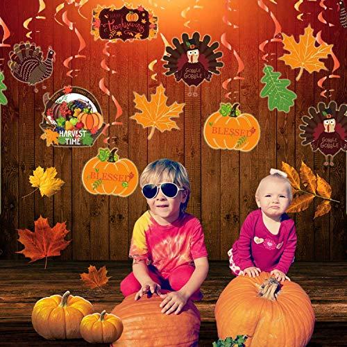 Sayala 30 piezas de decoraciones de fiesta de acción de gracias de otoño con remolinos colgantes para fiesta temática de otoño, decoración colgante de techo de la casa de la cosecha