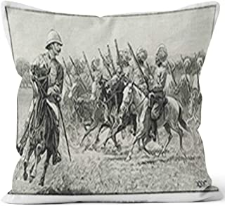Nine City British Colonial Troops Burlap Pillow Home Decor Throw Pillow Cover Cotton Linen Cushion,HD Printing for Couch Sofa Bedroom Livingroom Kitchen Car,28
