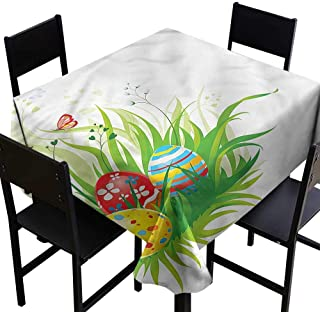 Easter Square Tablecloth Hidden Eggs on Grass Spring It's Good to be Home Gorgeous High End Quality 70 x 70 Inch