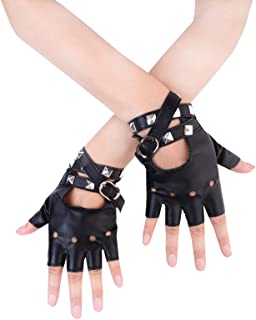 JISEN Women PU Leather Punk Gloves Rivets Belt Up or Snap...