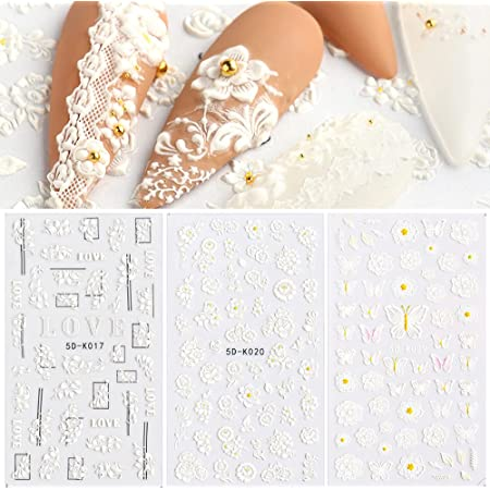 Nail Stickers Butterfly Flower Nail Decals Stereoscopic Embossed Nail Art Stickers 3 Sheets Butterfly Floral 5D Self-Adhesive Nail Sticker for Acrylic Nail Design Nail Decoration for Women