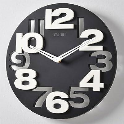 PINCHU Large 3D Wall Clock Digital Decorative Wall Clock Modern Design Black White Big Silent Wall