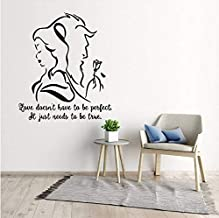 3D Wall Stickers Beauty and The Beast Wall Decal Romantic Vinyl Wall Sticker Bedroom Living Room Decor Lover Gift Removable Movie Mural 57X66Cm