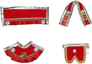 Red Laxmi Ganesh Dress poshak vastra Cloth Lehenga Chunari Dhoti Puja Item samgari Radha Krishna Dress for Statue Idol Sta...
