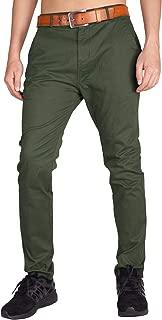 I.TALYMORN Men's Chino Zipper Flat Front Casual Pants 34W x 32L Army Green