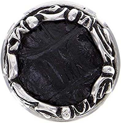 Satin Nickel Vicenza Designs K1119 Liscio Insert Knob with Black Leather Strap