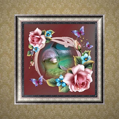 DIY 5D Diamond Painting by Number Kits, Jiayit 5D Animal Round Diamond Rhinestone Painting Pasted Embroidery Painting Cross Stitch Home Decor (B)