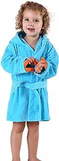 MICHLEY Girls Boys Robe Cotton Towel Kids Animal Dinosaur Style Hooded Bathrobe