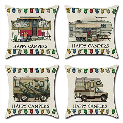 ZYFSKR Cotton Linen Pillow Covers Large Cushions Covers Square Cushion Cover Cushion Cover For Dining Car Rv Sofa Waist Chair Bed Home Decor 4 Pcs 45X45Cm