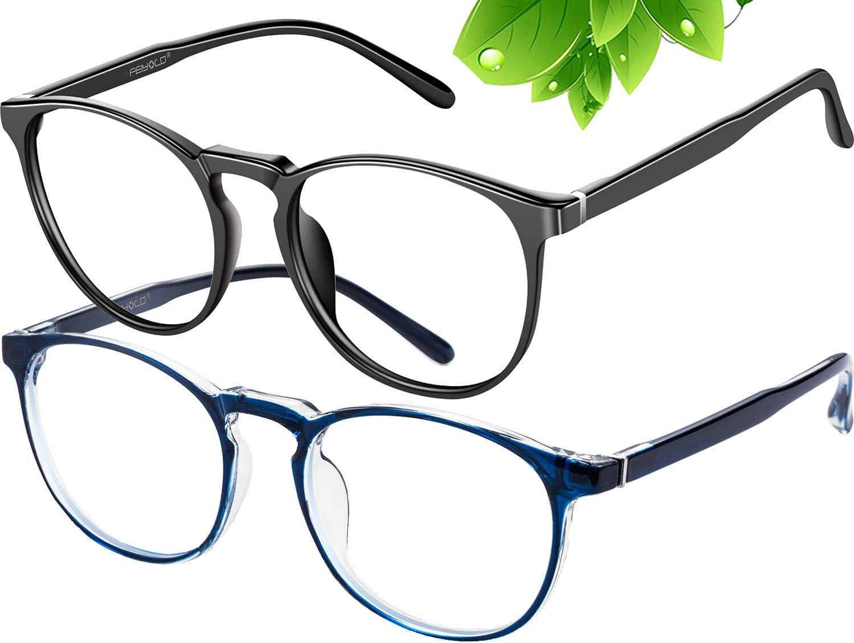 FEIYOLD Blue Light Blocking Glasses Women/Men,Retro Round Anti Eyestrain Computer Gaming Glasses(Black+Blue)