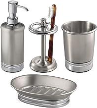 mDesign Juego de 4 Accesorios de baño en Acero Inoxidable – Set de baño con dosificador de jabón, jabonera, Porta cepillos...