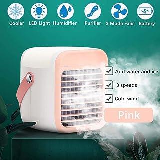 Giaowoli Mini Aire Acondicionado 4 en 1 Portátil Mini Enfriador De Aire Humidificador Purificador Nebulizador 3 Velocidades Promesa de Luces LED Silencioso Ventilador para Casa Oficina Viajar-Rosado