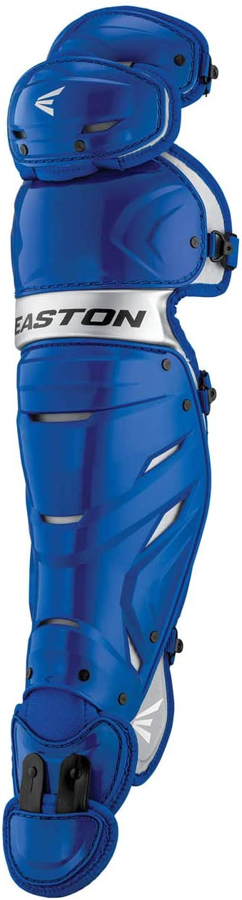 Adjustable Liners Mobility Reinforced Knee with Thigh Straps Provides Ultimate Fit EASTON ELITE X Baseball Catchers Leg Guards 2021 Vented Shell For Ultimate Protection Plus Breathability