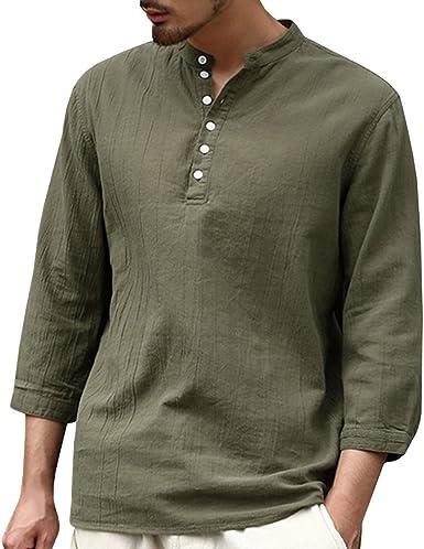 Camisa para Hombre - Lino Blusa Casual de Manga 3/4 Top Sin Cuello de Color Sólido Blusas Suelta Camisas de Trabajo Suave Cómodo Transpirable S-2XL