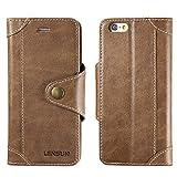 LENSUN Funda iPhone 6 / 6S con Tapa, Funda de Cuero Genuino Soporte Plegable Cartera para Tarjetas y Cierre Magnetico Protección Carcasa para Apple iPhone 6 / 6S 4,7'- Café (6G-GT-CE)