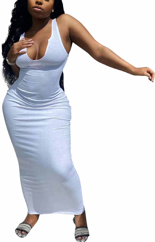 Adogirl Women's Sexy Summer Casual Slit Scoop Neck Ottoman Rib Club Beach Basic Long Bodycon Maxi Tank Dress Sun Dresses