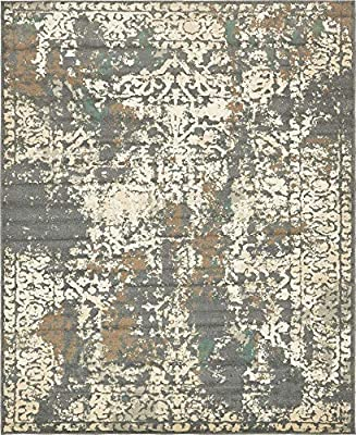 Unique Loom Tuareg Collection Vintage Distressed Traditional Gray Area Rug (8' 0 x 10' 0)