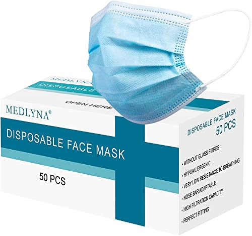 Disposable Face Masks, 3Ply with Adjustable Elastic Earloop, Comfortable Fitting & Easy Breathing, 50 Pcs