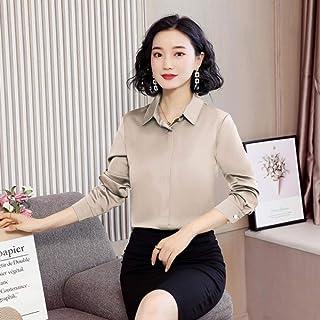 قمصان نسائية علوية وتيشيرتات نسائية عصرية بأكمام طويلة من الشيفون من متجر Makfacp (اللون: الشمبانيا، المقاس: XXL)
