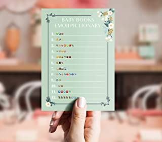 Baby Shower Emoji Game – Children's Book Pictionary for boys and girls – Pack of 40 – Gender Neutral Party Idea – Cute and Funny Bundle Set Cards