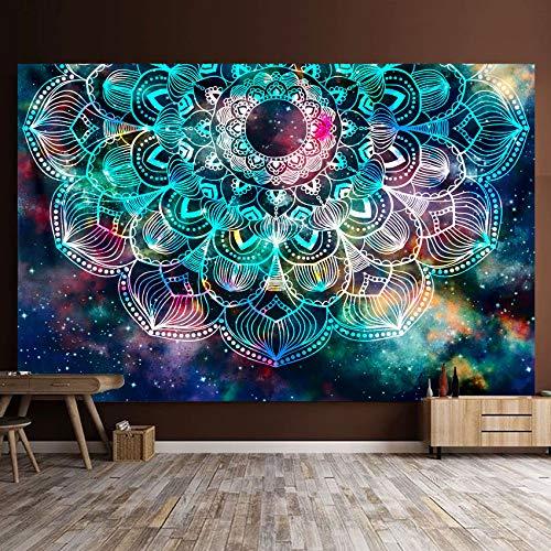 Wandteppich Psychedelic Mandala Wandbehang Boho Decke Überwurf Wandteppiche Geheimnisvolle Nebelsterne Tagesdecke Wandtuch Stranddecke Teppich Schlafzimmer Wohnzimmer Wohnheim Wanddeko 150 * 130cm