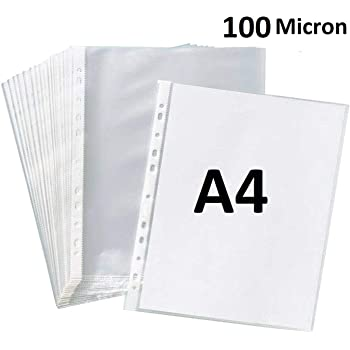 True-Ally 50 Pcs 100 Micron Transparent Document Sleeves, Leaf Sheet Clear Certificates/Waterproof Sheet Protectors 11 Holes Punched Ring Files Folder (A4 Size) (50 Sheets - 100 Micron)