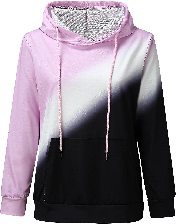 Fudule Long Sleeve Shirts for Women, 2021 Fashion Tie Dye Sweatshirts Casual Color Block Hoodies Lightweight Pullover