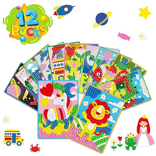 Vatos Kits de Mosaico para Niños Juguete Pegatina Mosaico Kits de Manualidades para Niñas Juguetes Hechos a Mano Pequeños Actividades Divertidas Regalos para Niñas 3 4 5 6 Años - 12 Paquetes