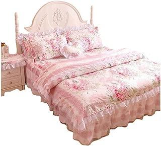 FADFAY,Romantic Flower Print Bedding Set,Floral Bed Set,Princess Lace Ruffle Duvet Cover King Queen Twin,4Pcs (Queen)