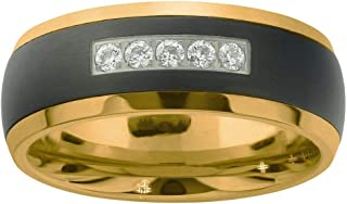 AX Jewelry Mens Natural Diamond 1/6CTTW Black/Yellow Tungsten Band