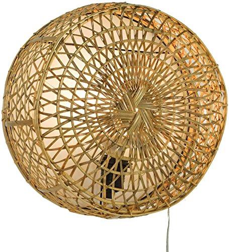 Guru-Shop Wandlampe/Wandleuchte, in Bali Handgefertigt aus Naturmaterial, Rattan - Modell Maumere, 35x35x14 cm, Wandleuchten