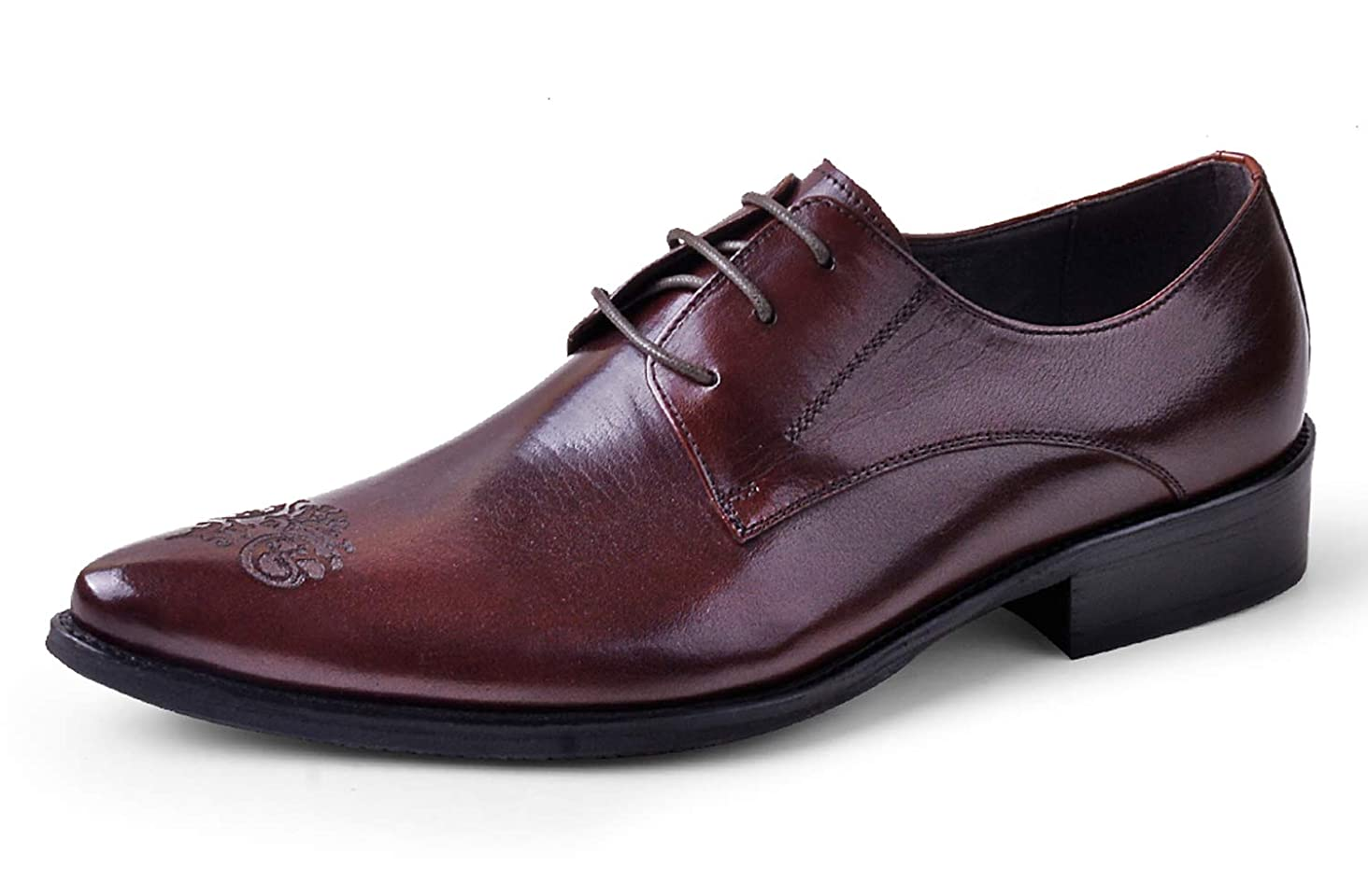 Mens Oxford Dress Shoes Fashion Formal Handmade Carved Plain Toe Leather Lace Up Derby Shoes