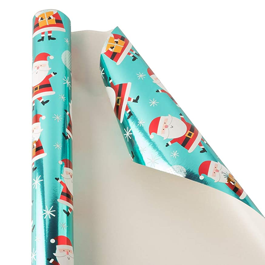 JAM PAPER Gift Wrap - Christmas Wrapping Paper - 25 Sq Ft - Teal Shine Santa - Roll Sold Individually