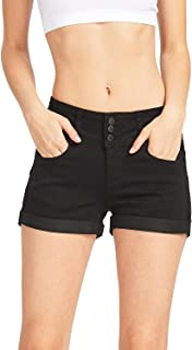Women's Juniors Stetchy Mid Rise Denim Shorts