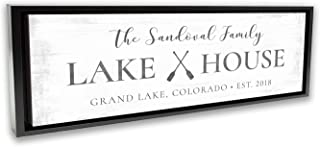 Pretty Perfect Studio Custom Lake House Sign, Personalized Family Lake Home Decor for Lake Life Living Room| 10x20 Black Framed, Ready-to-Hang Canvas Wall Art