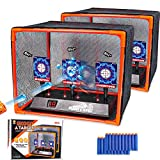 2 Pack Electronic Shooting Target Scoring Auto Reset Digital Targets for Nerf Guns Toys, with 2Pcs Support Cage & Net and 20 Pcs Refill Darts, Great to Practice Your Shooting, Perfect Children Gift