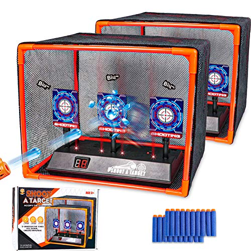 Ksasmile 2 Pack Electronic Shooting Target Scoring Auto Reset Digital Targets for Nerf Guns Toys with 2Pcs Support Cage amp Net and 20 Pcs Refill Darts Great to Practice Your Shooting