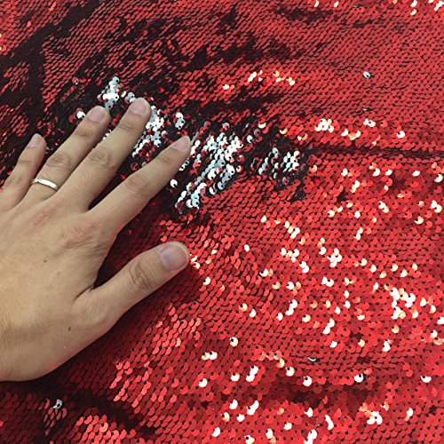 Shinybeauty bicolore 0,9 m sirena paillettes reversibile tessuto stretch bidirezionale per fai da te sposa abito da sera Abito Custume Magic, paillettes federa, cuscino, Red & Silver, 0,9 m
