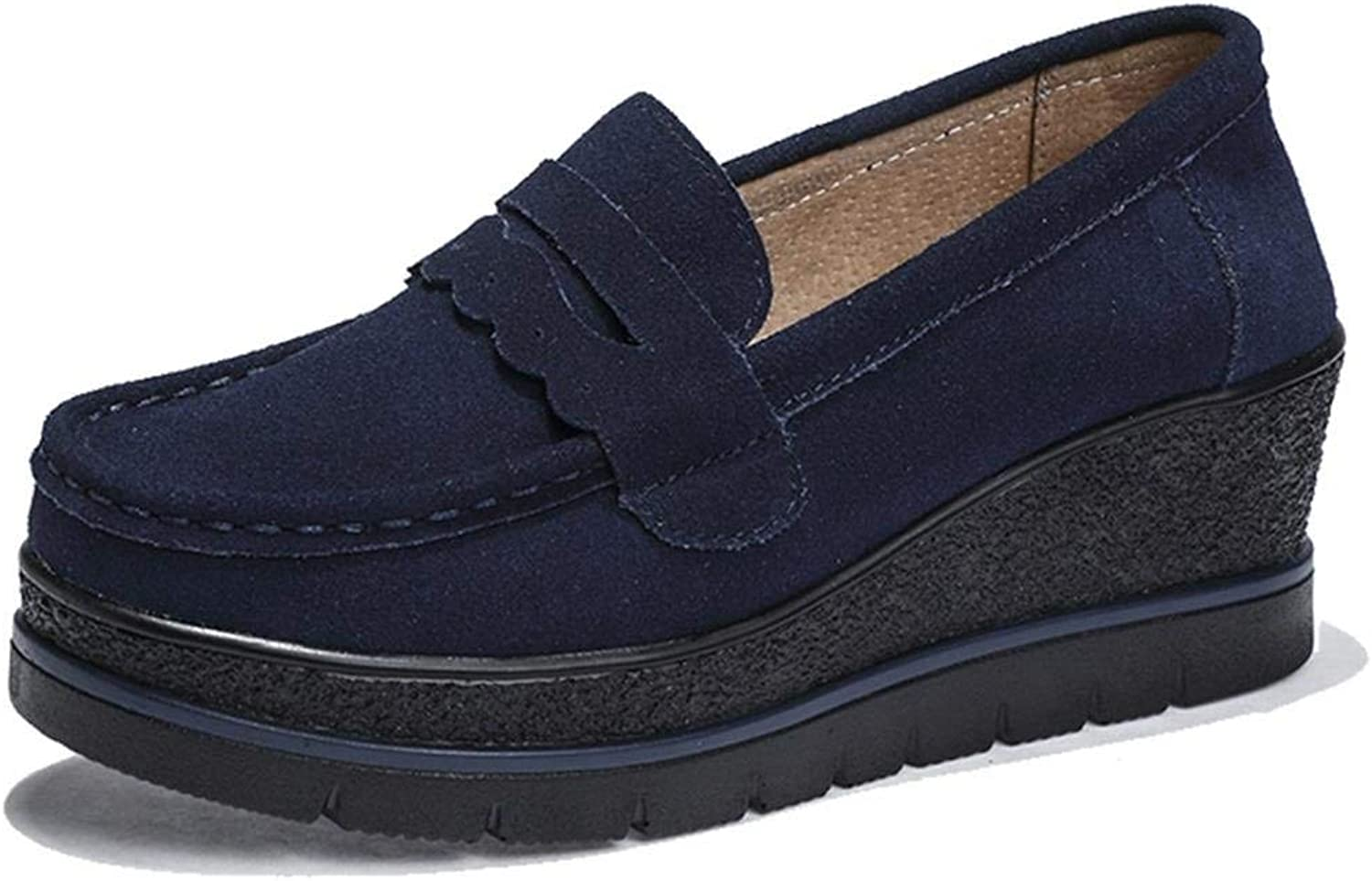 Jc-factory Women's Suede Leather Slip-on Comfort Wedge Platform Penny Loafers Moccasins