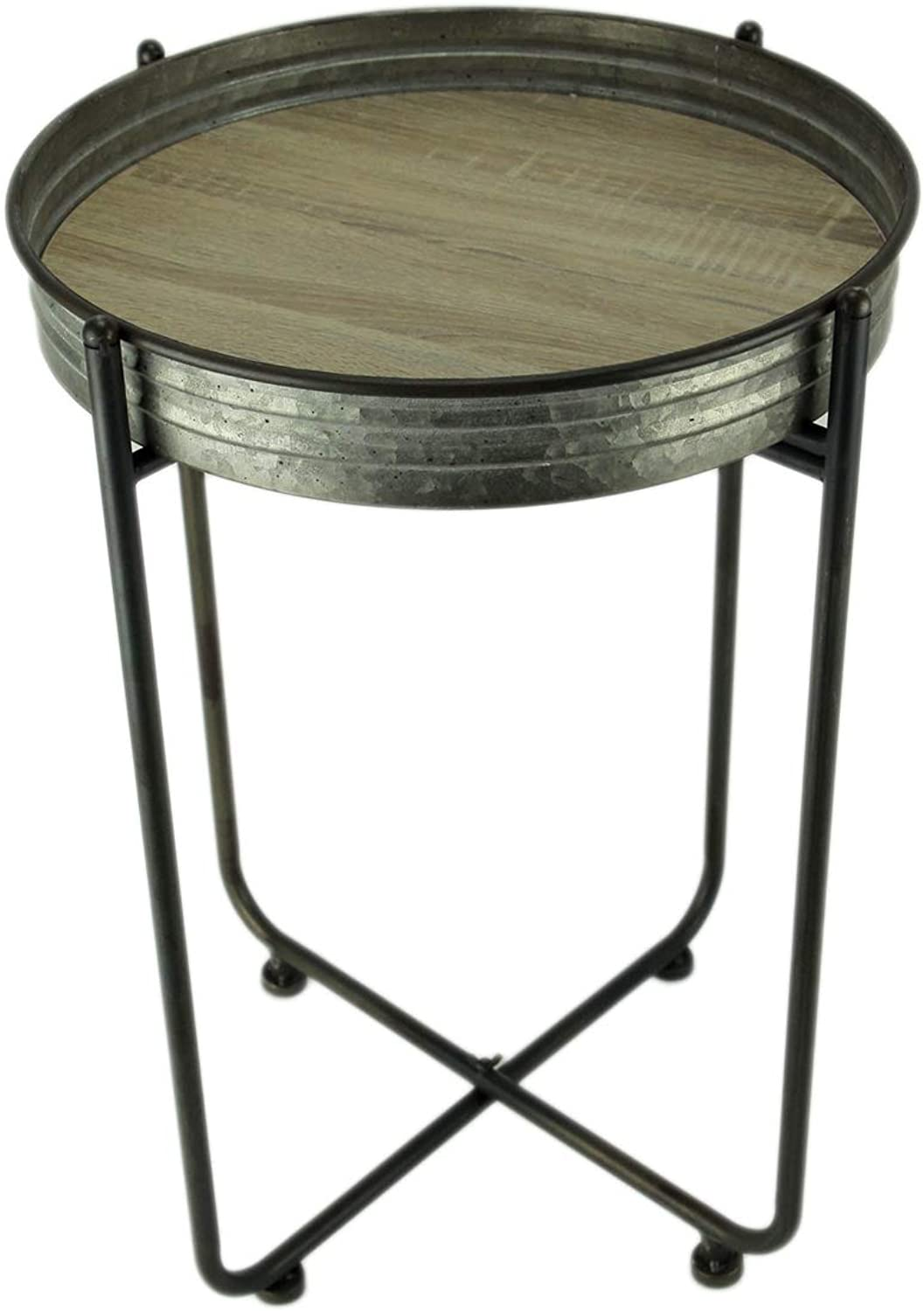 Rustic Galvanized Metal and Wood Round Accent Table