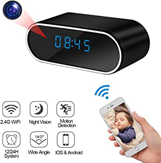 LXMIMI Cámara Espía Cámara Oculta con Reloj WiFi Mini Cámara de Visión Nocturna Grabación y Advertencia de Detección de Movimiento con Espía Videocámara con Pantalla LED para Uso en Interiores