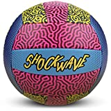 Shockwave Beach Volleyball   Funky 80s/90s Psychadelic Pattern with Bright Colors   Ideal for The Beach or Outdoor, or Indoor Settings   Distinctive Neon Design Ball for Kids and Adults