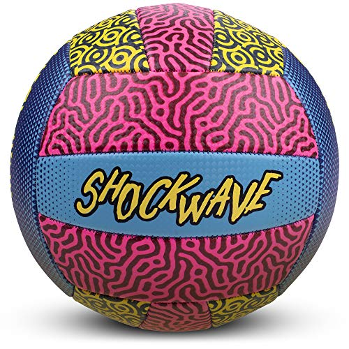 Shockwave Beach Volleyball | Funky 80s/90s Psychadelic Pattern with Bright Colors | Ideal for The Beach or Outdoor, or Indoor Settings | Distinctive Neon Design Ball for Kids and Adults