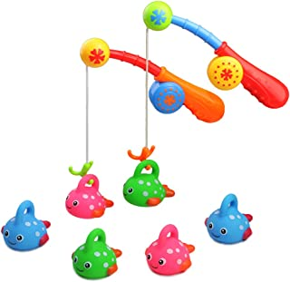 Fajiabao Bath Toys for Kids Bathtub Fun Toys Fishing Game with Cute Spotted Fish and Fishing Rod, Toy Ideal Gift for Toddlers Boys Girls Kids Children Set of 2(Color Random)