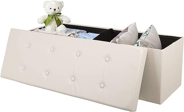 Homfa 大卧室搁脚凳 43 英寸折叠人造皮革收纳箱带盖搁脚板窗户加厚座椅茶几可容纳 661 磅米色