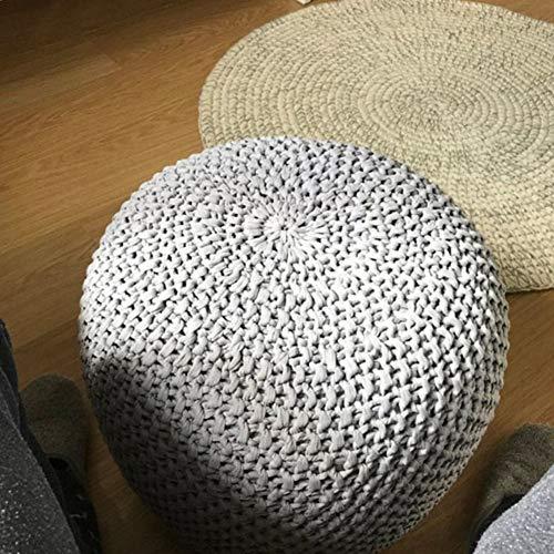 XER Marroquí Grande Puffe Pouffe Footstool Chunky Hand Pouf Pouf Pie Taburete Taburete de Estar Moderno Asiento de cojín por Confort Colecciones,Gris