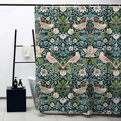Obal Duschvorhang, Badezimmer-Gardinen, wasserdicht, Anti-Schimmel-Polyester-Stoff, schwere Dekoration, mit Vorhanghaken, waschbar, 180 cm x 180 cm